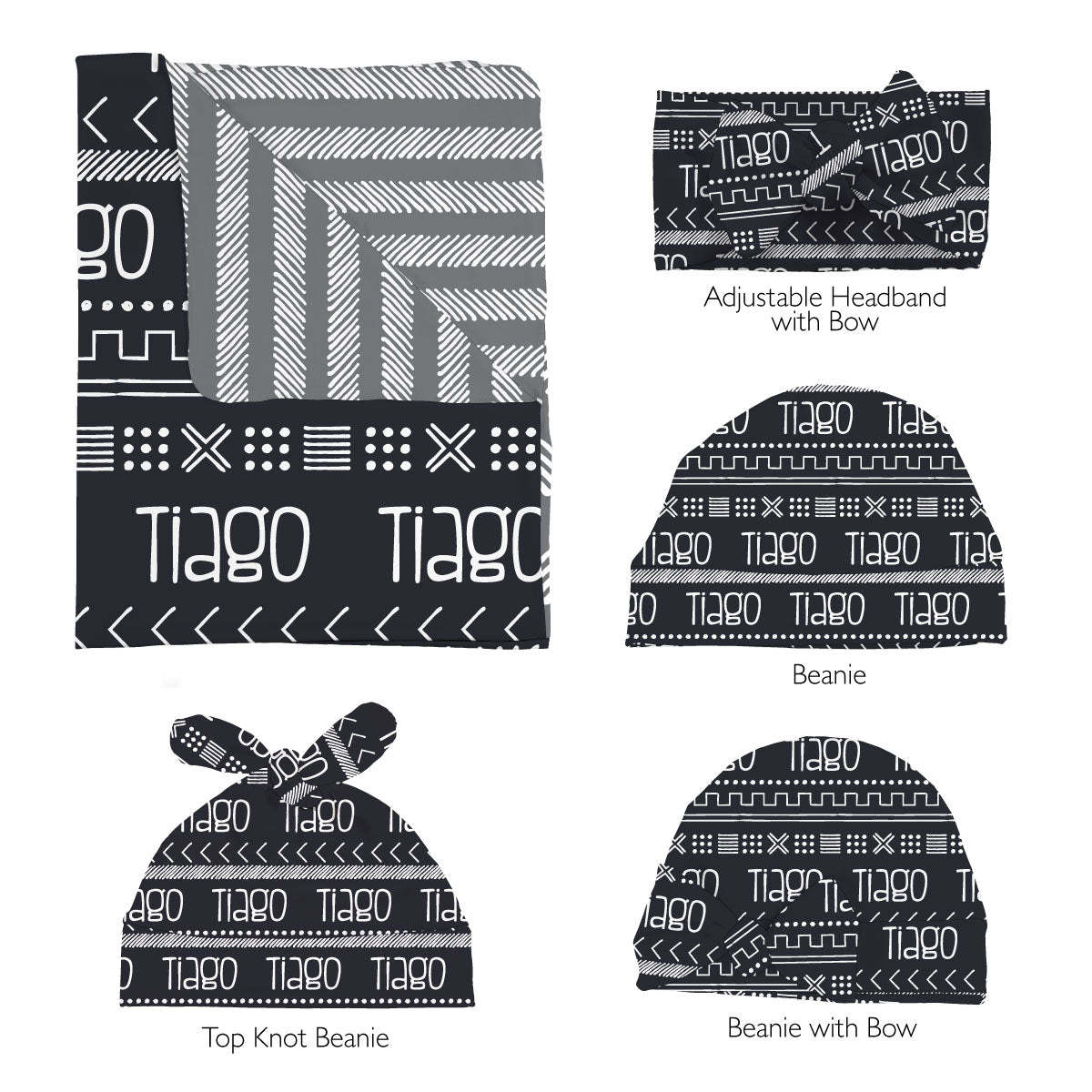 Tiago's Charcoal Tribe | Swaddle Set