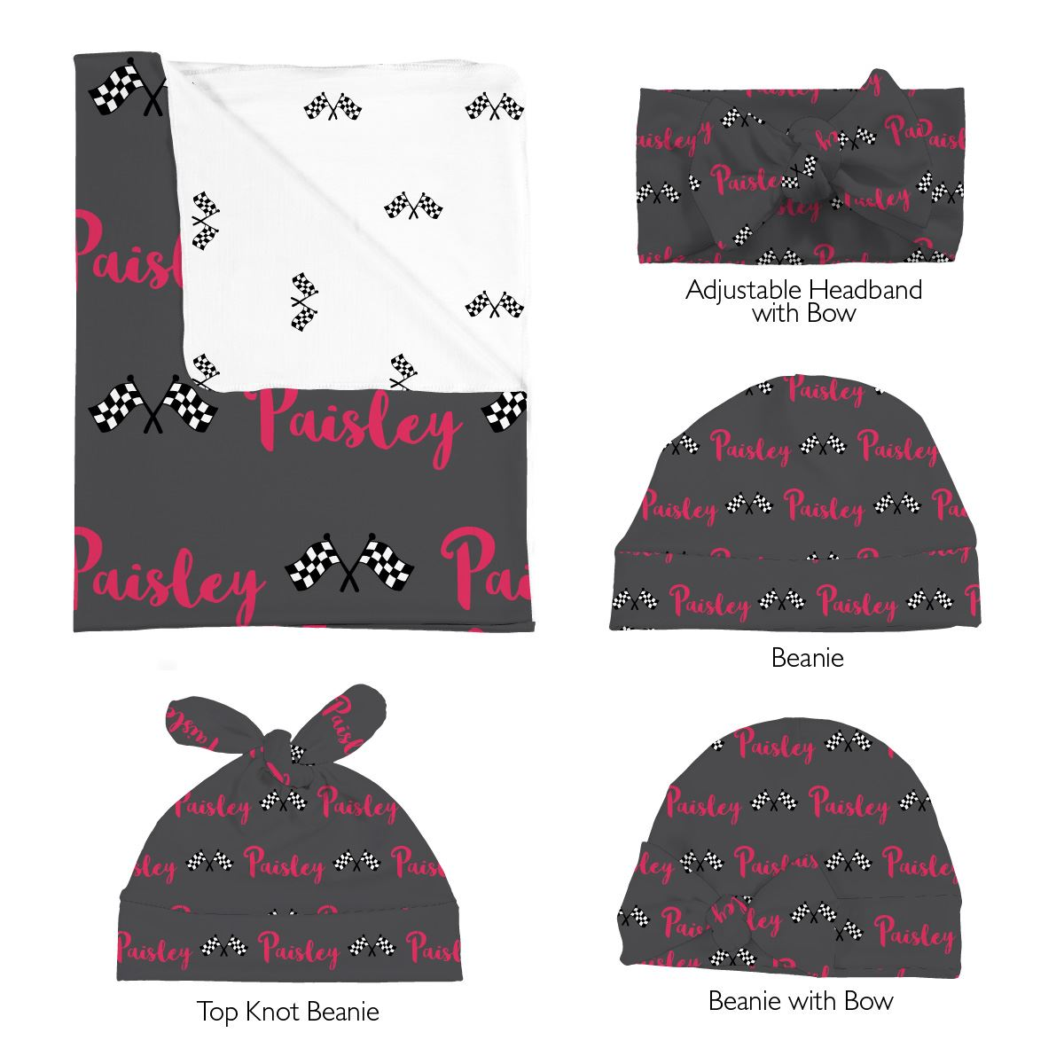 Paisley's Race Flags | Swaddle and Hat Set
