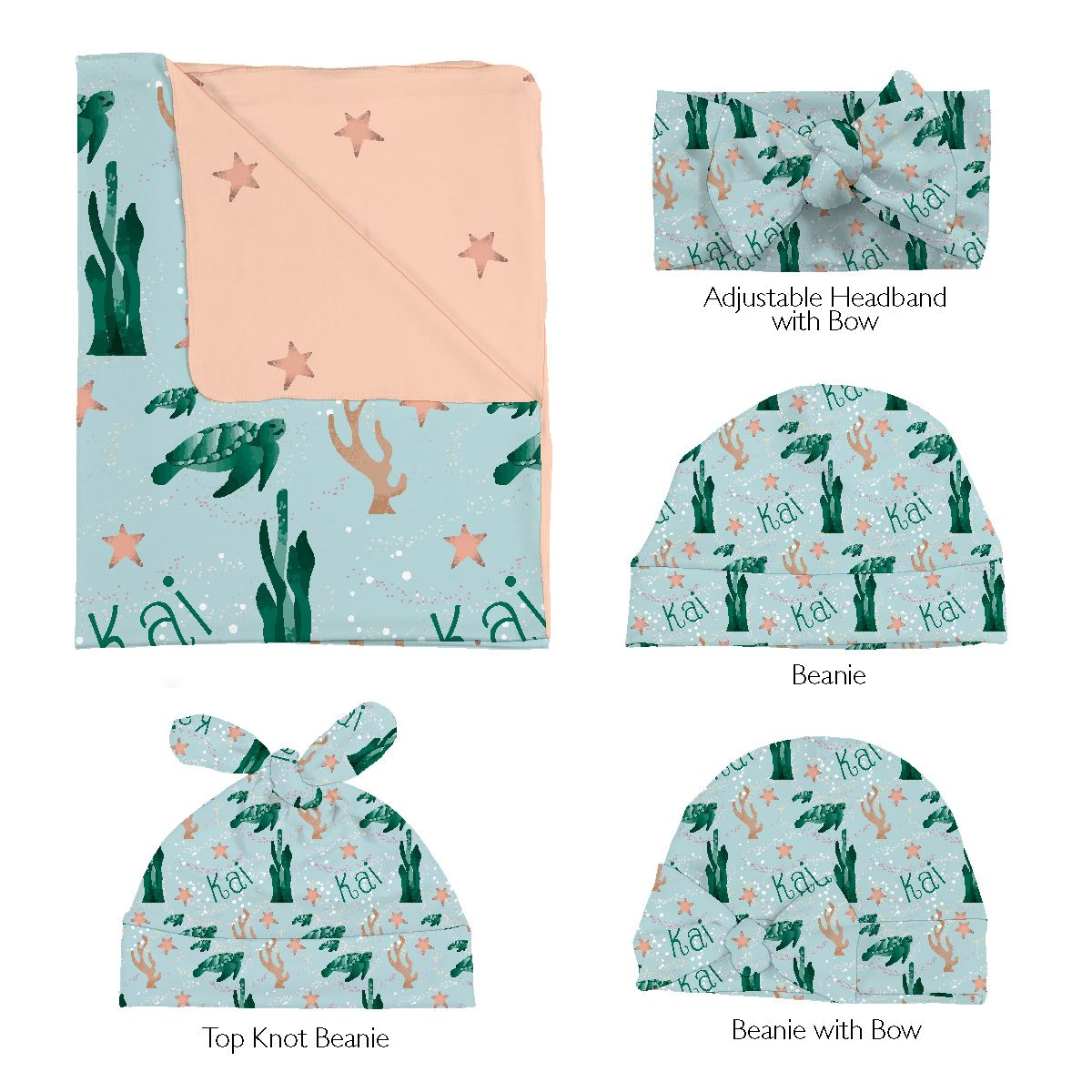 Kai's Serene Sea Turtle | Swaddle and Hat Set