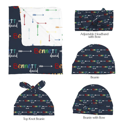 Xander's Rainbow Arrows | Swaddle and Hat Set