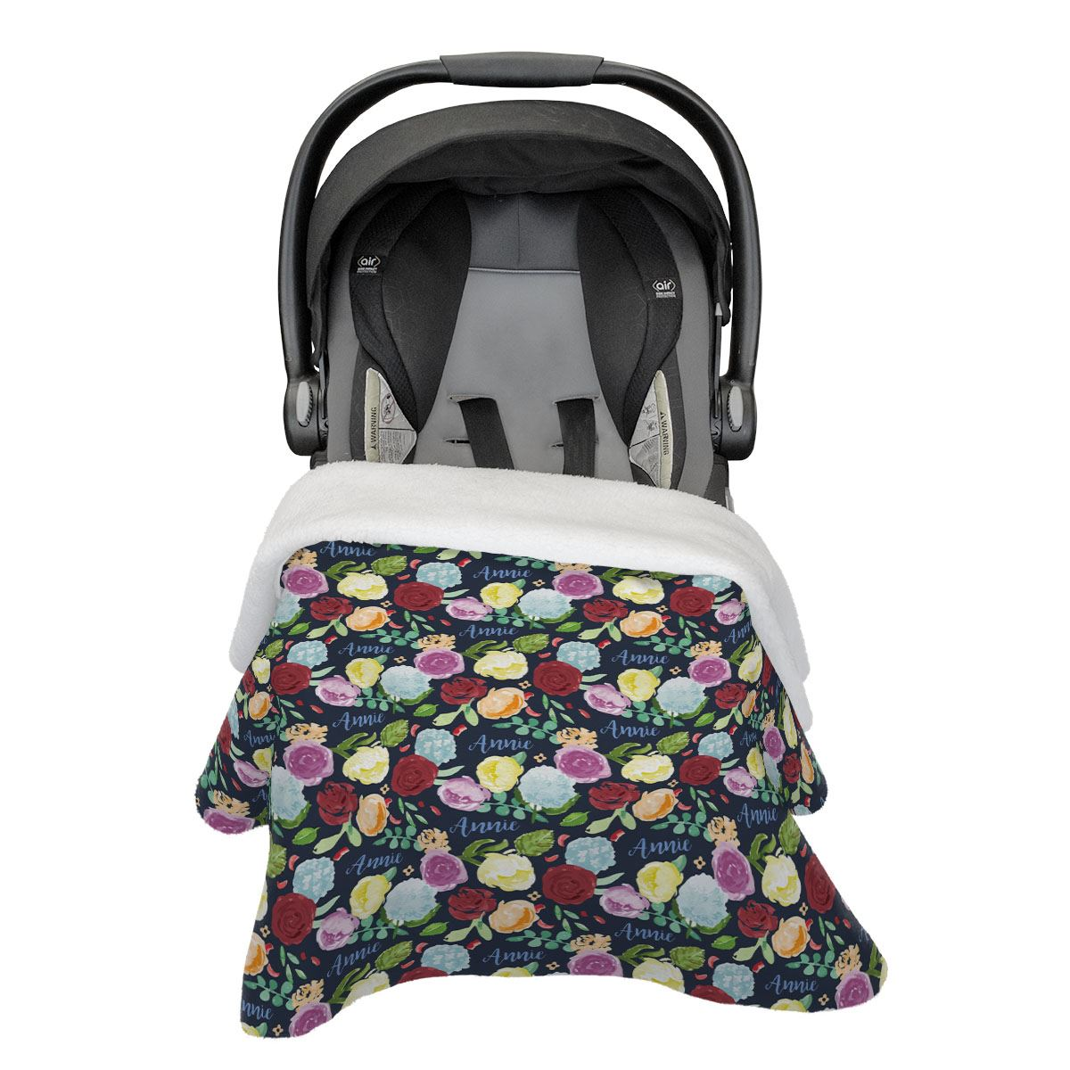Bella's Painted Peony Rainbow | Car Seat Blanket