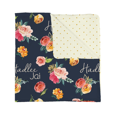 Double sided fall floral personalized baby blanket