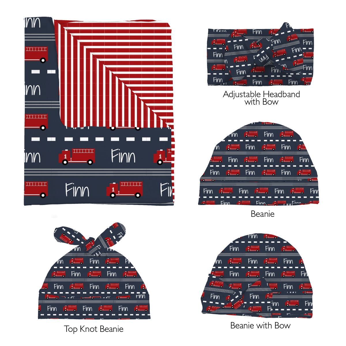Finn's Firetruck | Swaddle and Hat Set