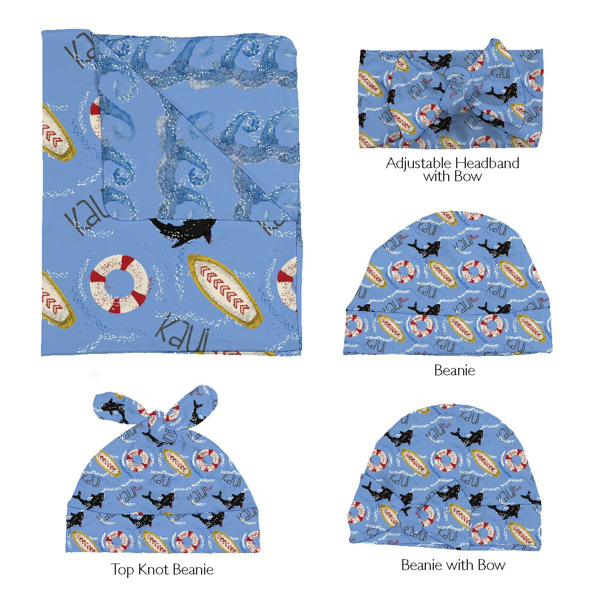 Kaui's Open Surf | Swaddle and Hat Set
