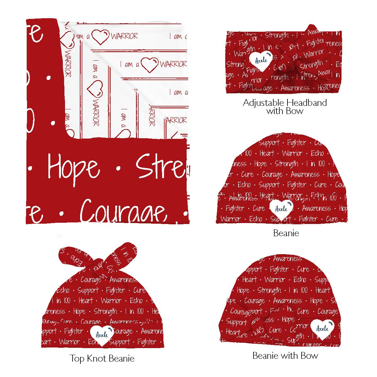 Axxle's Heart Warrior | Swaddle and Hat Set