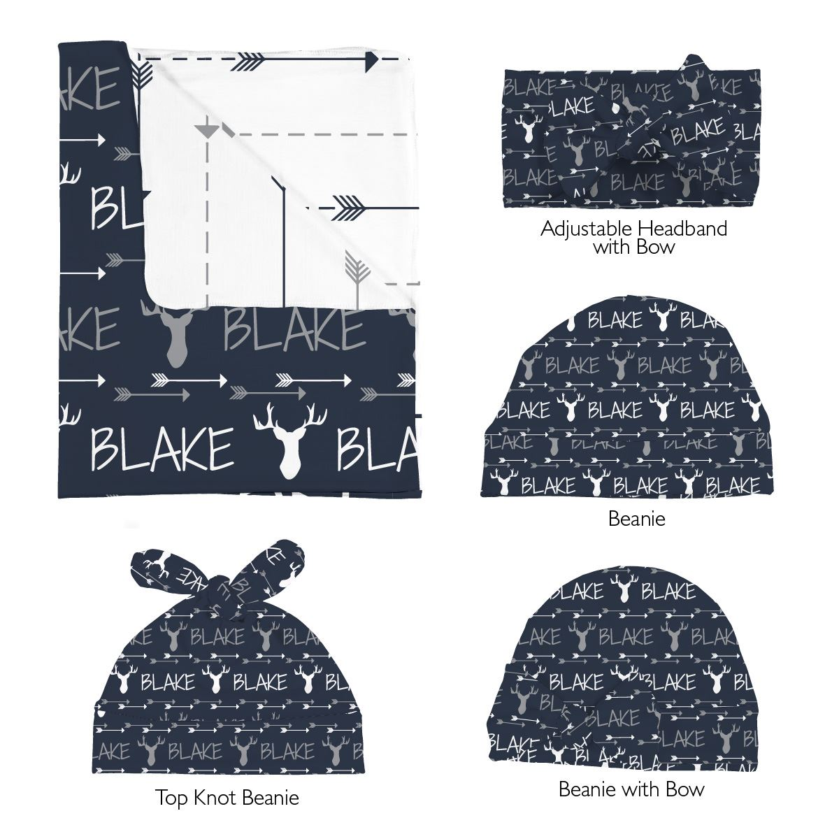 Blake's Buck and Arrows | Swaddle and Hat Set