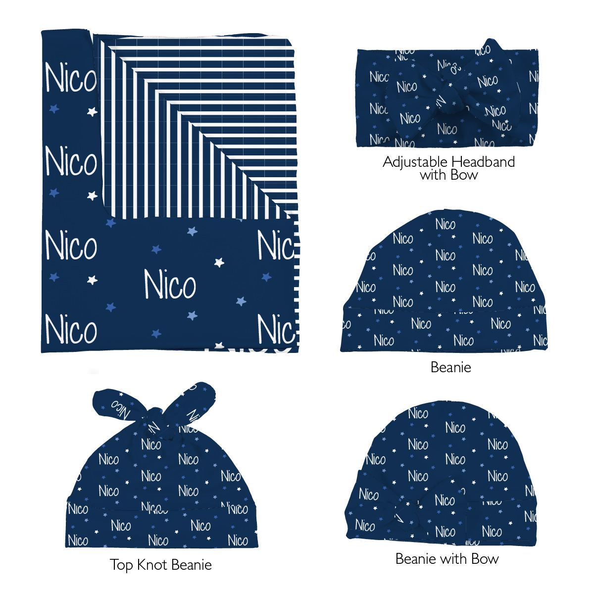 Nico's Twinkling Stars | Swaddle and Hat Set