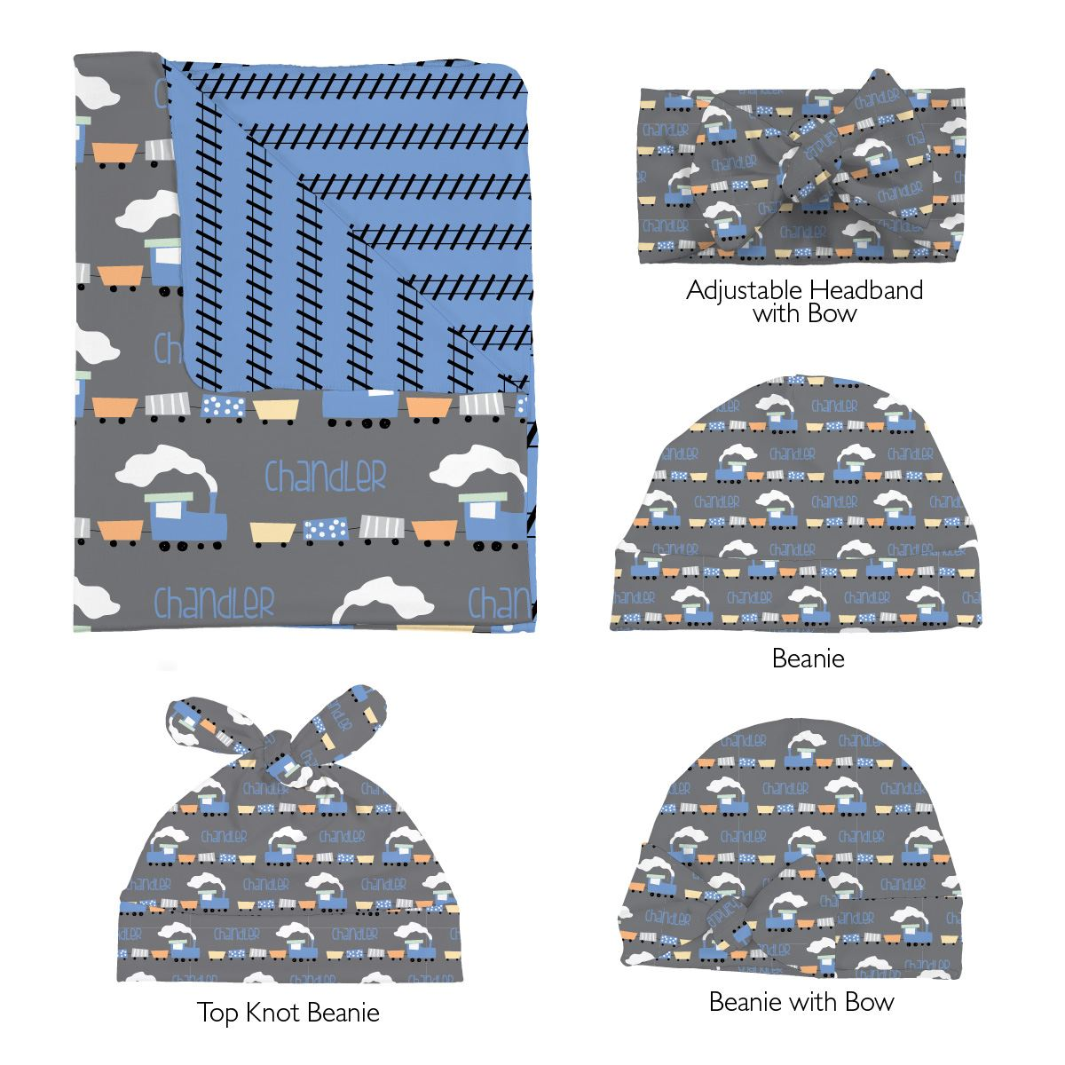 Chandler's Choo Choo Train | Swaddle and Hat Set