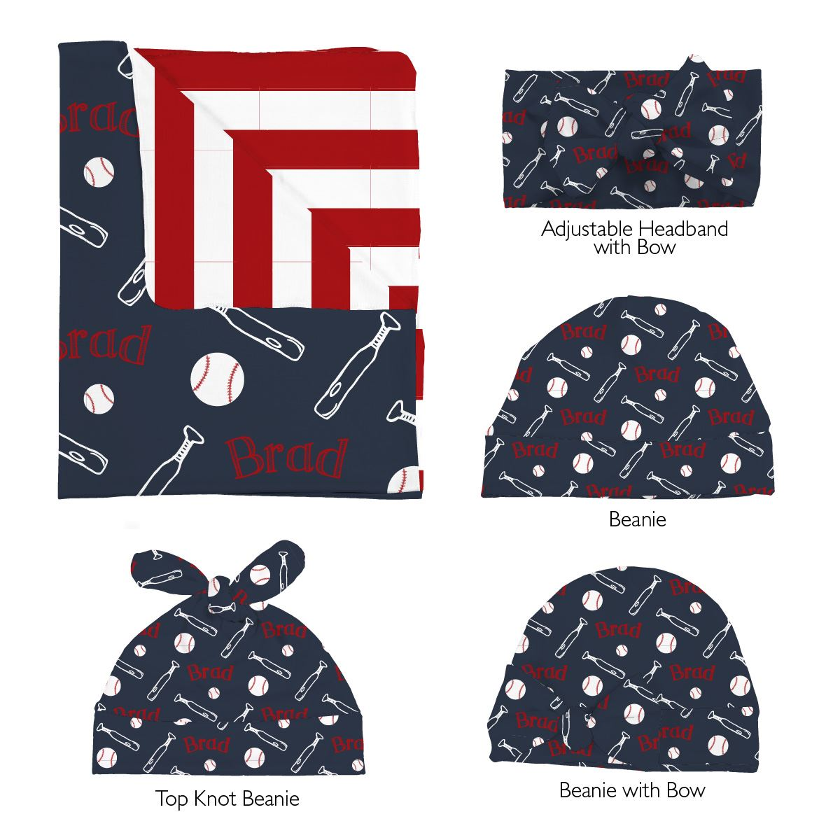 Brad's Baseball League | Swaddle and Hat Set