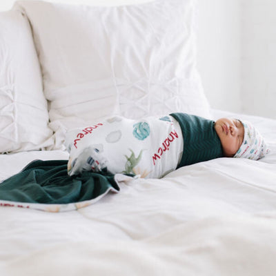 Andrew's Castle and Dragons | Swaddle and Hat Set