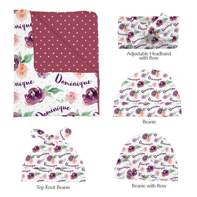 Margot's Magenta Floral | Swaddle and Hat Set
