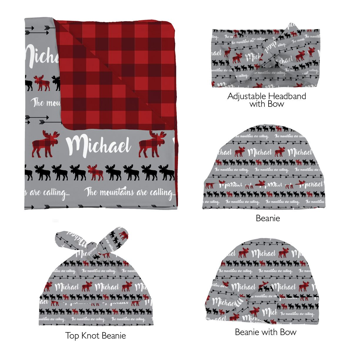 Sam's Moose Mountains are Calling | Swaddle and Hat Set