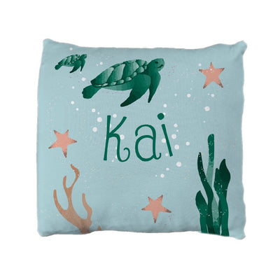 Kai's Serene Sea Turtle | Big Kid Throw Pillow