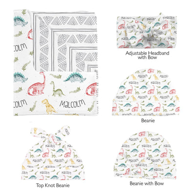 Malcolm's Wild Dinosaurs | Swaddle and Hat Set