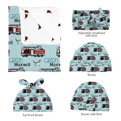 Carson's Fire Engine | Swaddle and Hat Set