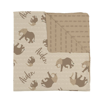 Stripes and elephant personalized baby blanket