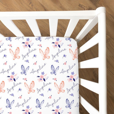 Angelina's Summer Butterfly | Fitted Crib Sheet
