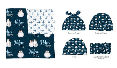 Bailey's Winter Penguins | Swaddle and Hat Set