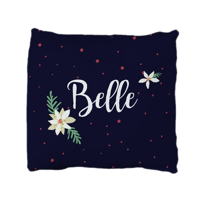Belle's Holiday Poinsettia | Big Kid Throw Pillow