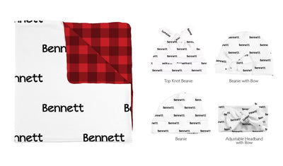 Bennett's Christmas | Swaddle and Hat Set