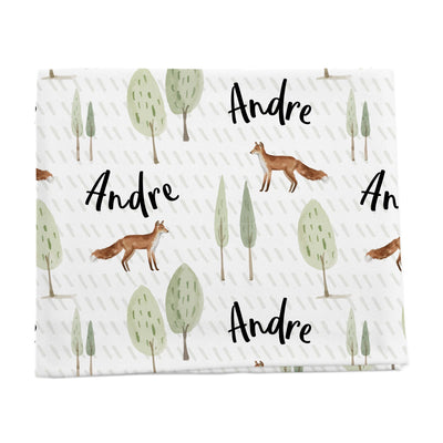 Trees and fox Personalized baby blanket