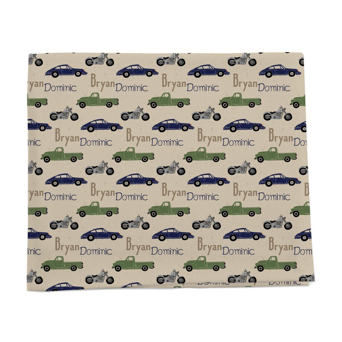 Car and automobile personalized baby blanket