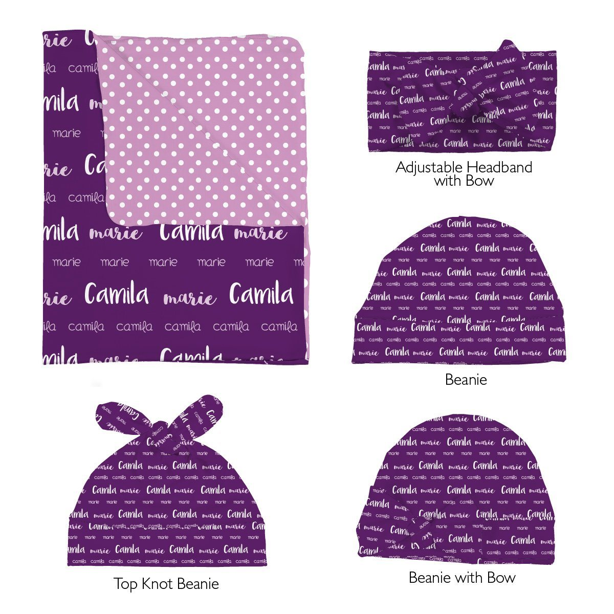 Camila's Multi Font | Swaddle and Hat Set