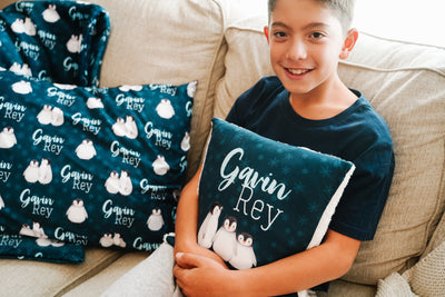 Bailey's Winter Penguins | Big Kid Throw Pillow
