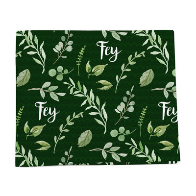 Leaves and greenery personalized baby blanket