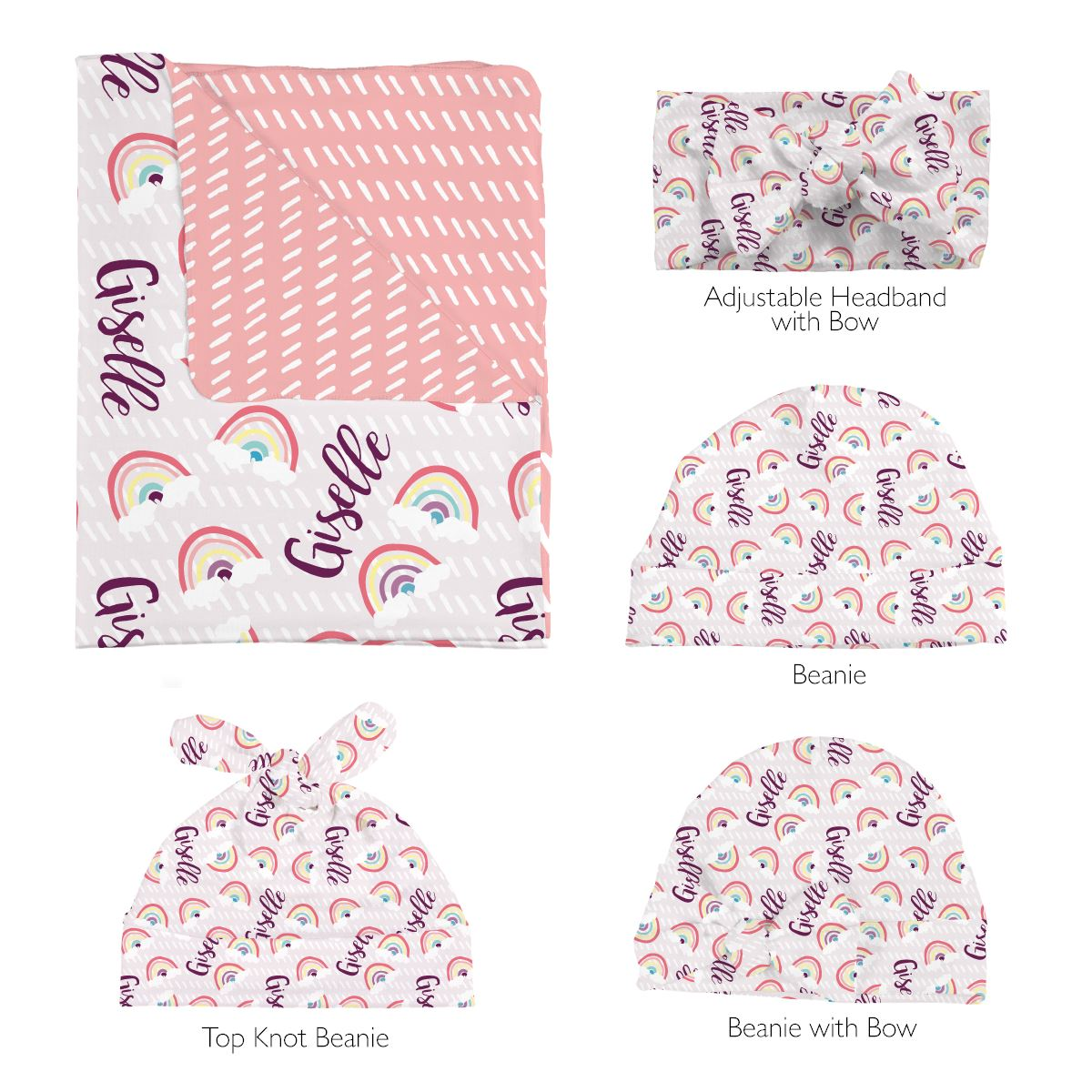 Gizelle's Sunlit Rainbow | Swaddle and Hat Set