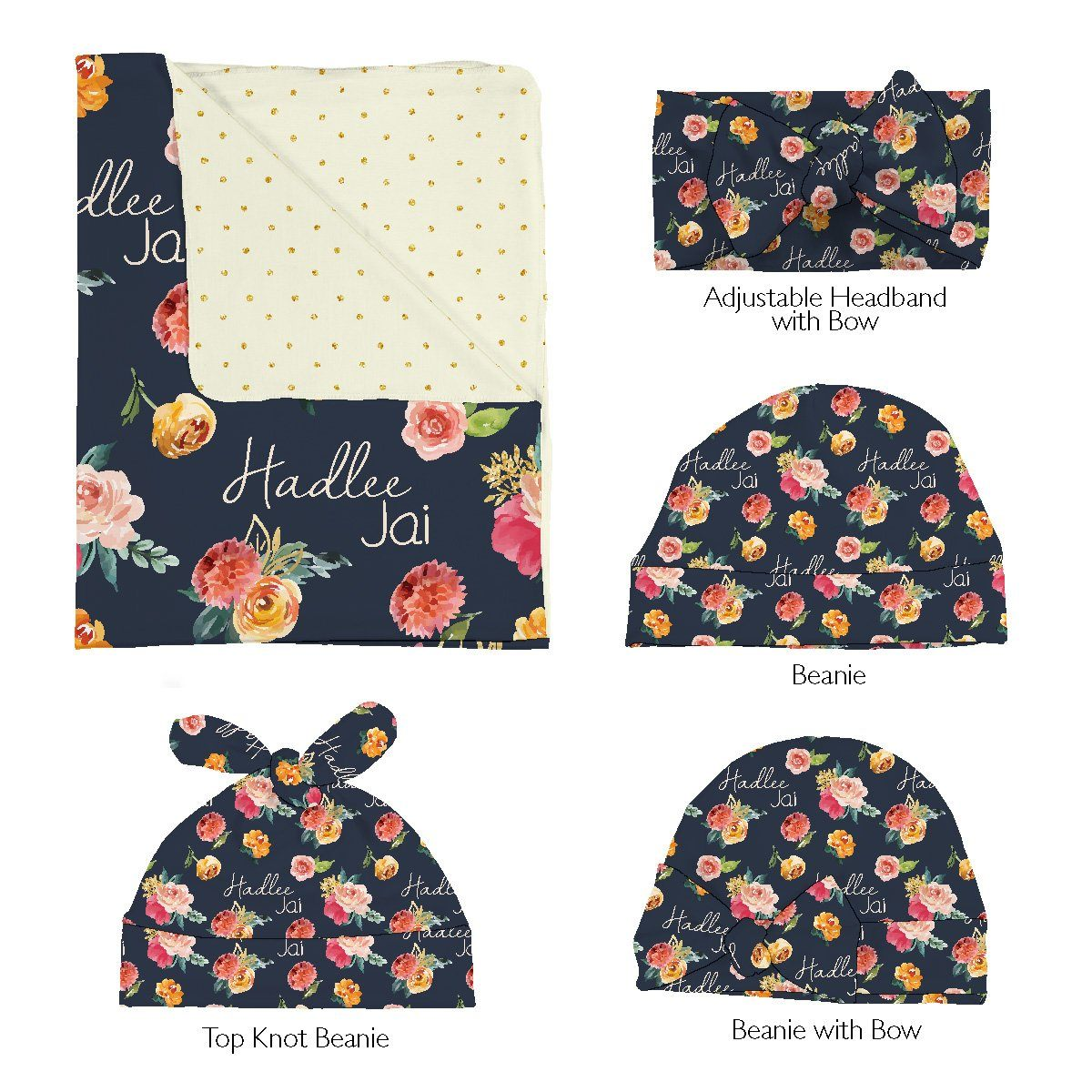 Hadlee's Fall Garden | Swaddle and Hat Set