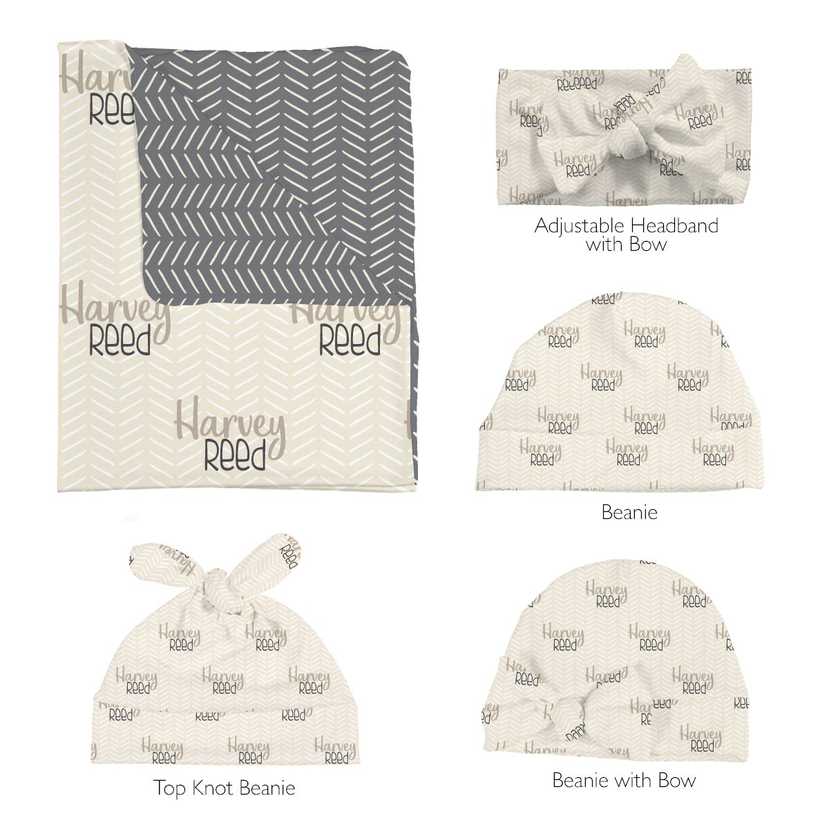 Harvey's Modern Herringbone | Swaddle and Hat Set
