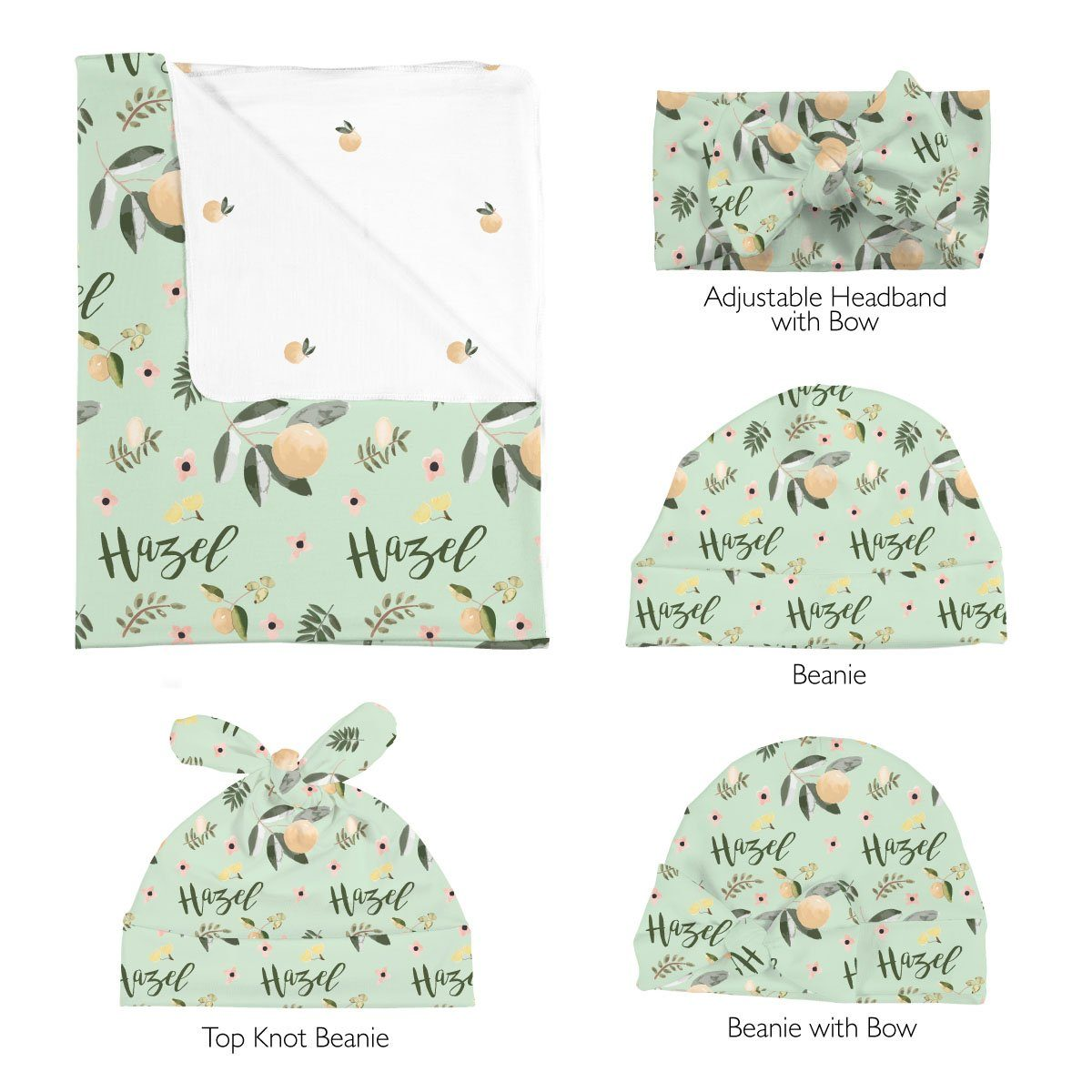 Hazel's Orange Blossoms | Swaddle and Hat Set
