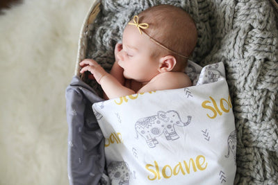 Oliver's Elephant Parade | Swaddle and Hat Set