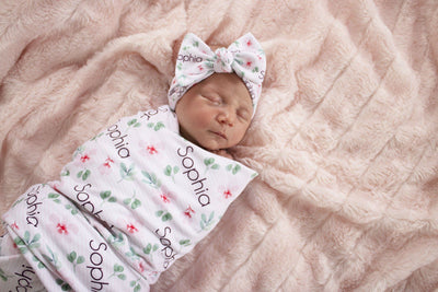 Sophia's Pinstriped Impatiens | Swaddle and Hat Set