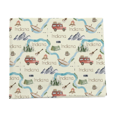 Camping road trip personalized baby blanket