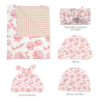 Isabella's Scallops and Peonies | Swaddle and Hat Set