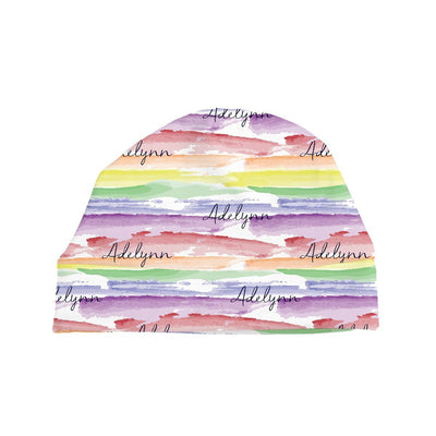 Jayla's Watercolor Rainbow | Swaddle and Hat Set