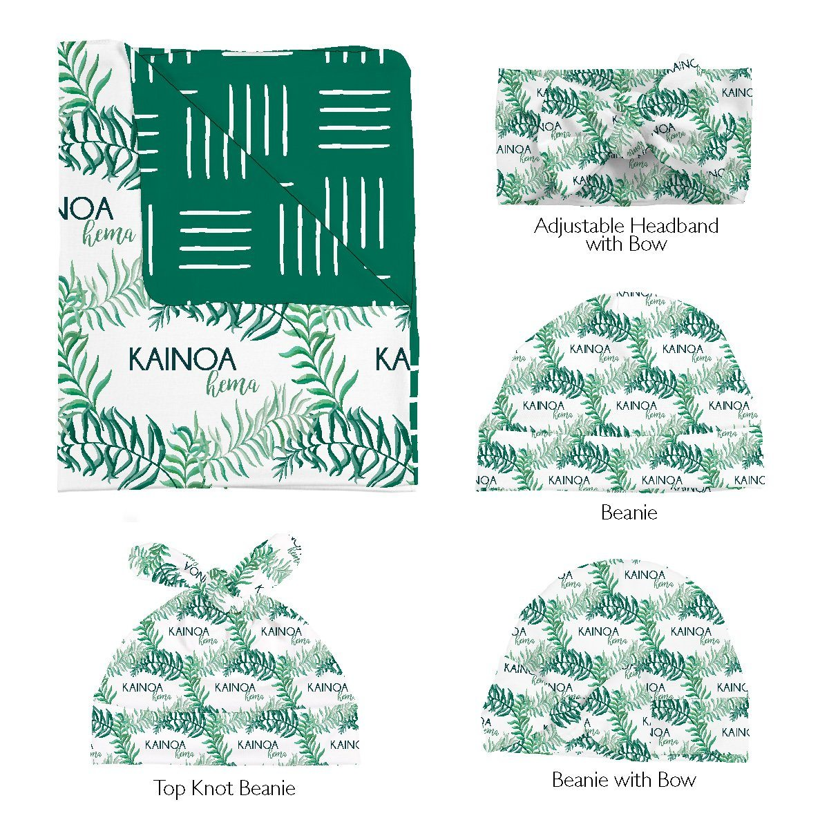 Kainoa's Palm Tree | Swaddle and Hat Set