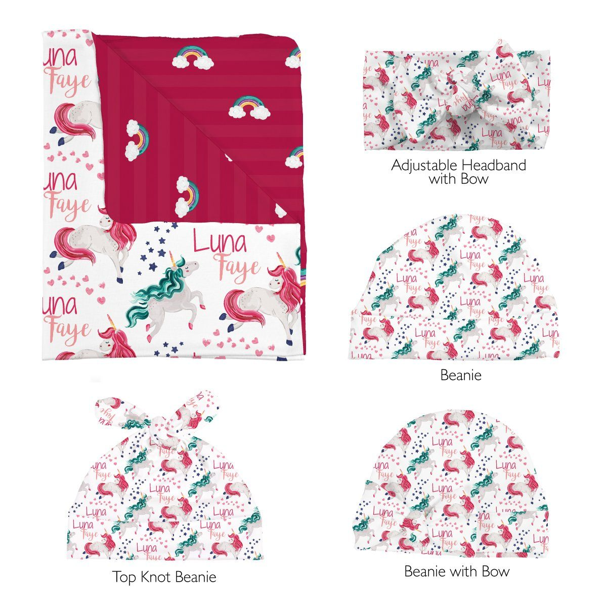 Luna's Magical Unicorn | Swaddle and Hat Set
