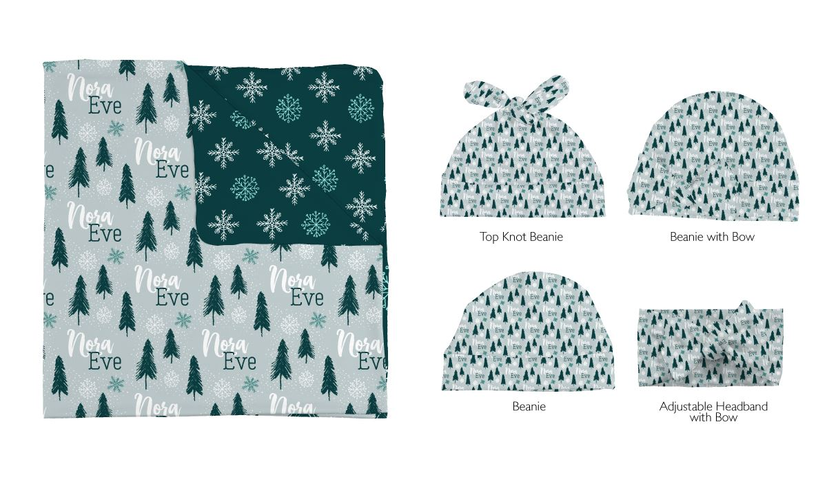 Nora's Magical Snowflakes | Swaddle and Hat Set