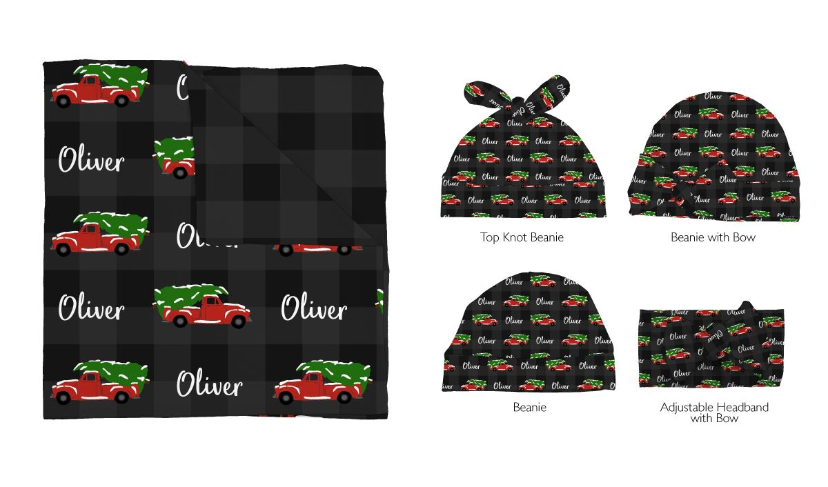 Oliver's Christmas Adventure | Swaddle and Hat Set