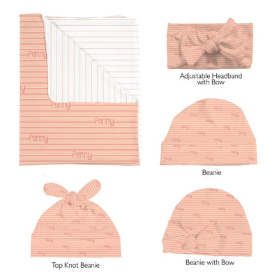 Penny's Pinstripes | Swaddle and Hat Set