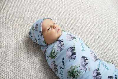 Jacob's Mighty Rhino | Swaddle and Hat Set