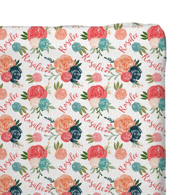 Rosalee's Blush & Blue Floral | Changing Pad Cover