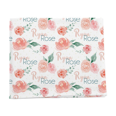 Ryan Rose Floral personalized baby blanket