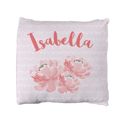 Isabella's Scallops and Peonies | Big Kid Throw Pillow