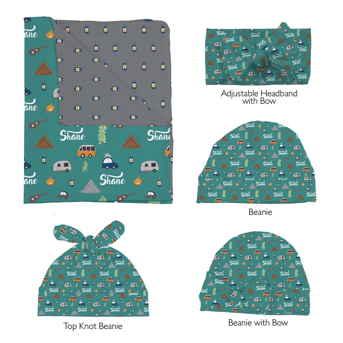 Shane's Camping Trip | Swaddle and Hat Set