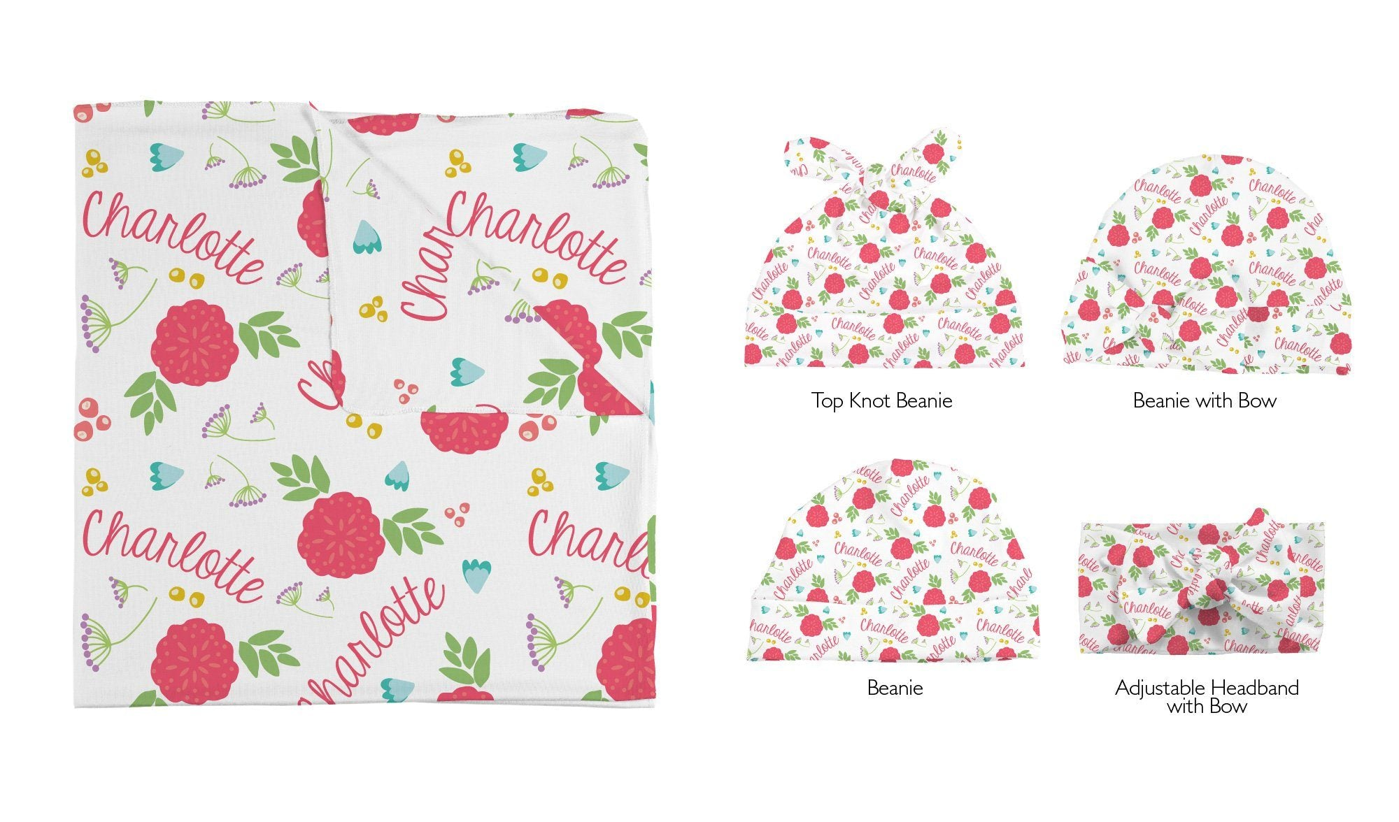 Freya's Spring Floral | Swaddle and Hat Set
