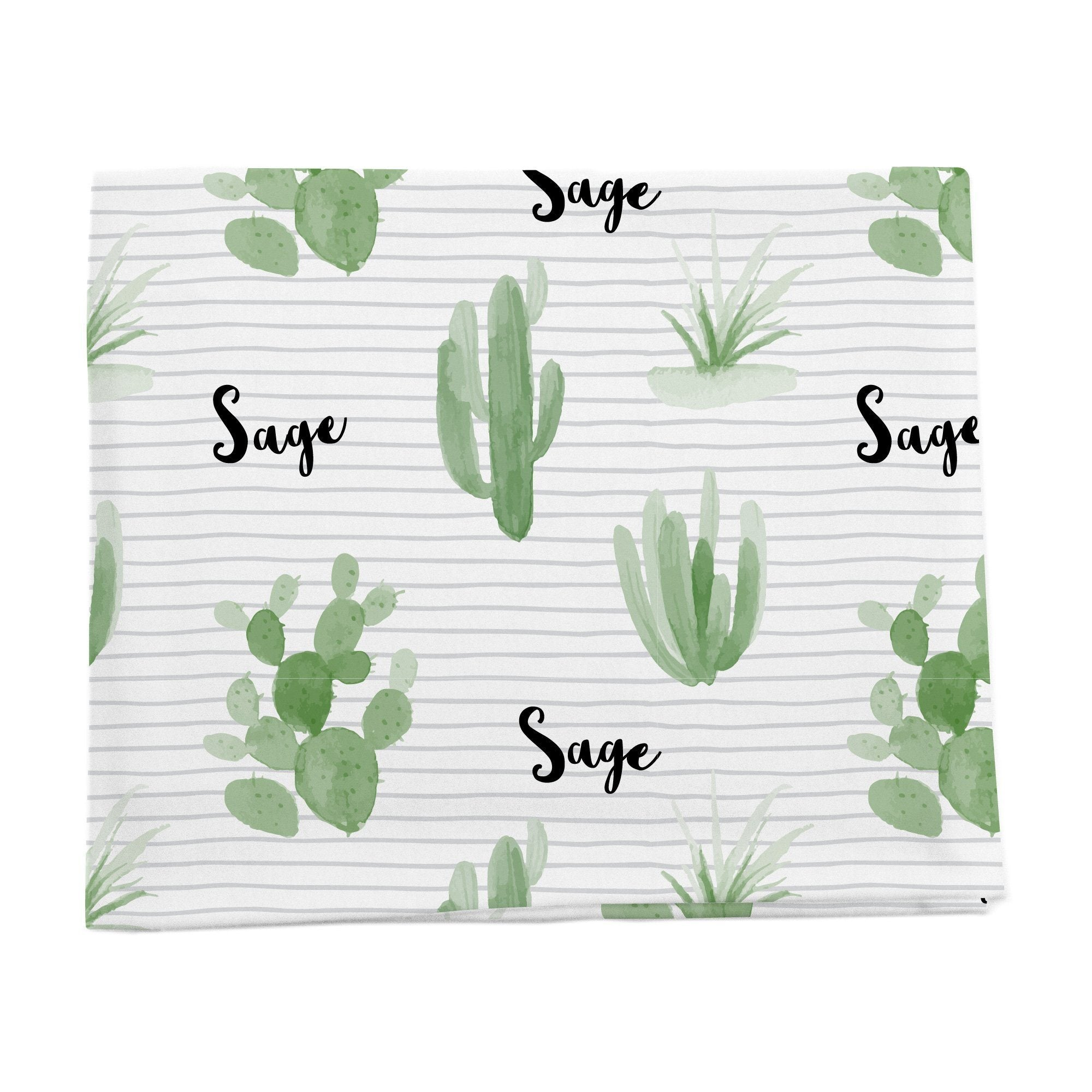 Cactus personalized baby blanket